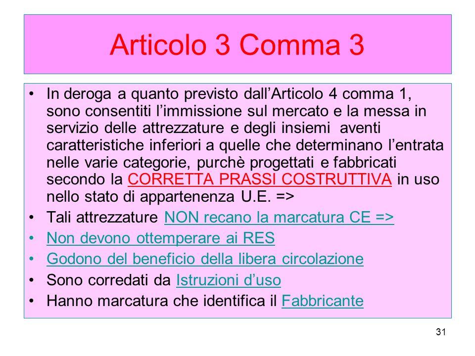 31 Articolo 3 Comma 3 In deroga a quanto previsto dallArticolo 4 comma 1, sono consentiti limmissione sul mercato e la messa in servizio delle attrezz