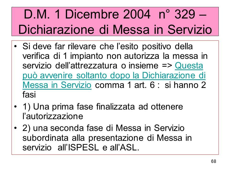 68 D.M. 1 Dicembre 2004 n° 329 – Dichiarazione di Messa in Servizio Si deve far rilevare che lesito positivo della verifica di 1 impianto non autorizz