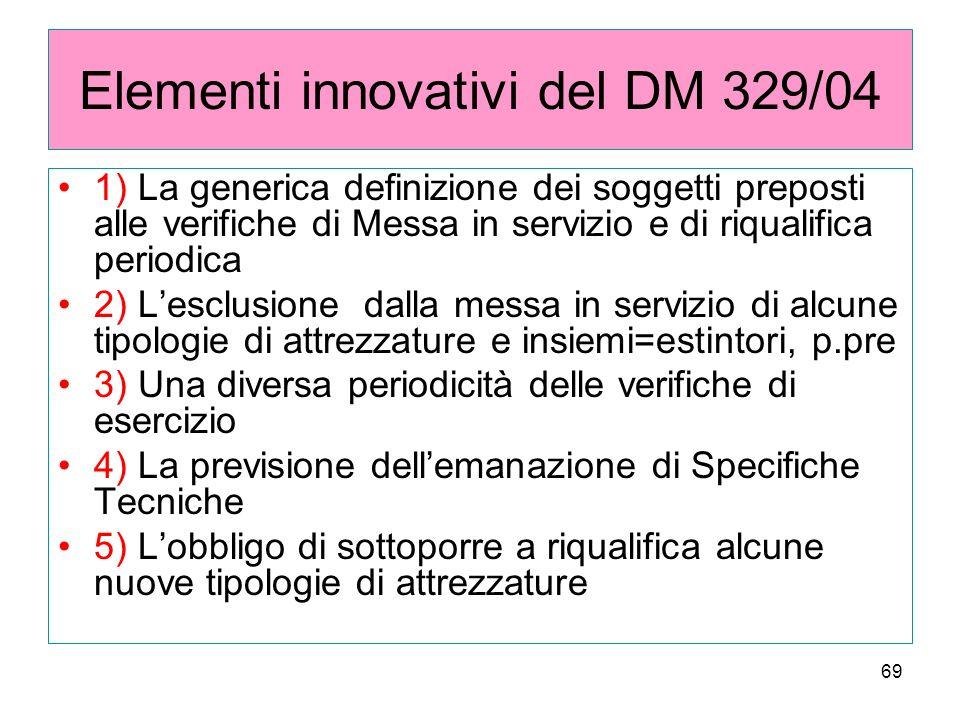 69 Elementi innovativi del DM 329/04 1) La generica definizione dei soggetti preposti alle verifiche di Messa in servizio e di riqualifica periodica 2