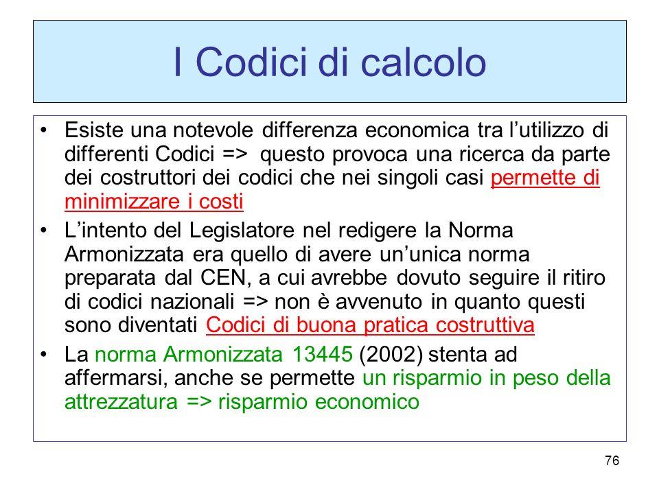 76 I Codici di calcolo Esiste una notevole differenza economica tra lutilizzo di differenti Codici => questo provoca una ricerca da parte dei costrutt