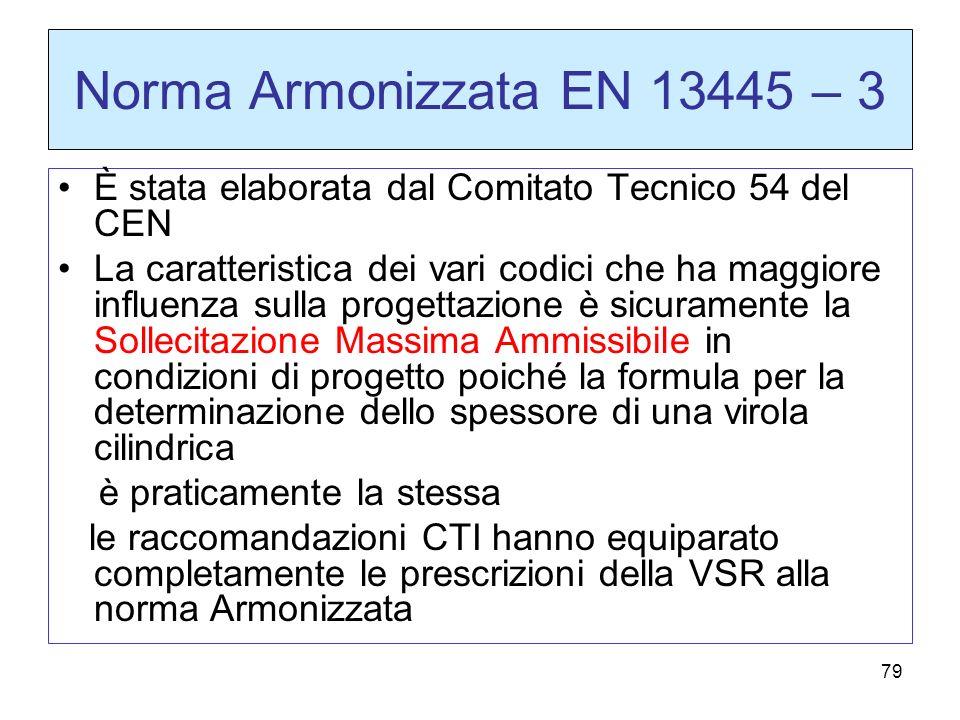 79 Norma Armonizzata EN 13445 – 3 È stata elaborata dal Comitato Tecnico 54 del CEN La caratteristica dei vari codici che ha maggiore influenza sulla