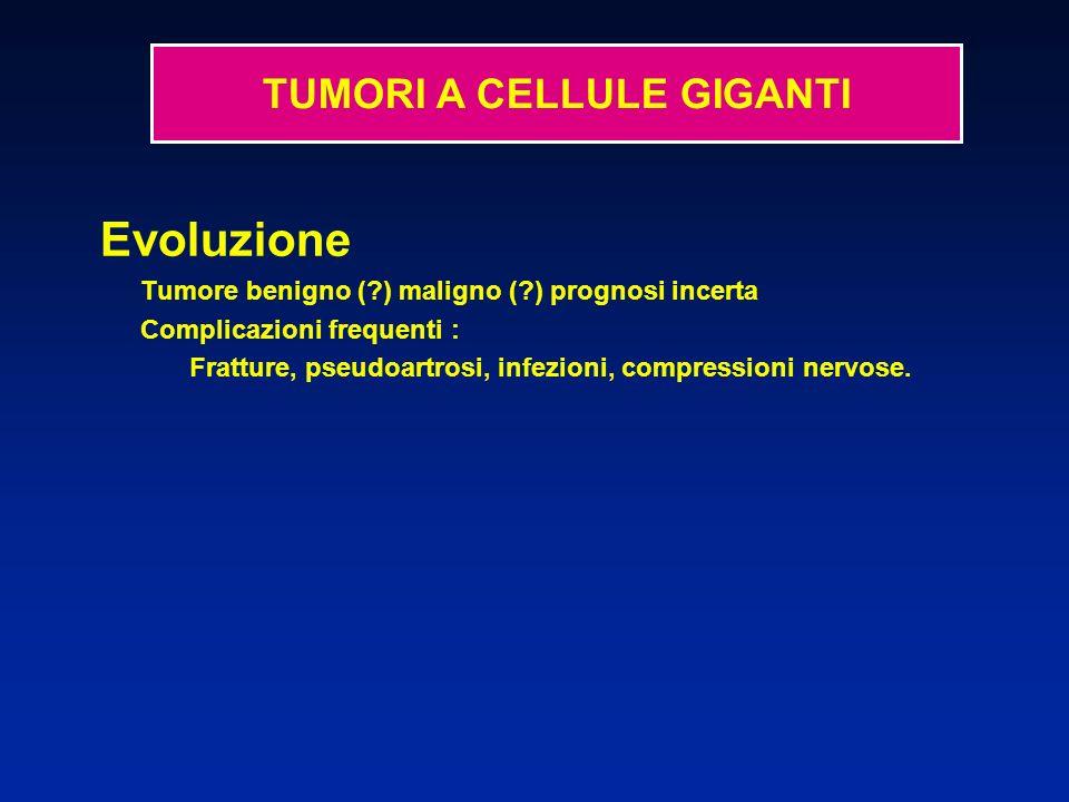 Evoluzione Tumore benigno (?) maligno (?) prognosi incerta Complicazioni frequenti : Fratture, pseudoartrosi, infezioni, compressioni nervose. TUMORI