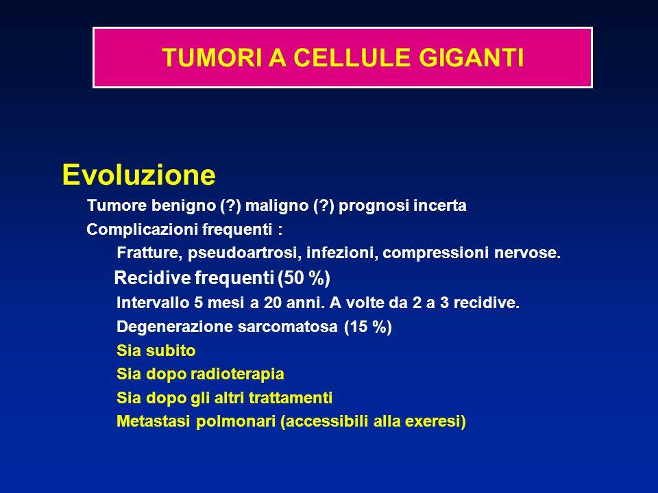 Evoluzione Tumore benigno (?) maligno (?) prognosi incerta Complicazioni frequenti : Fratture, pseudoartrosi, infezioni, compressioni nervose. Recidiv
