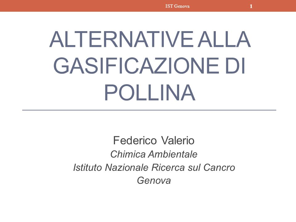 ALTERNATIVE ALLA GASIFICAZIONE DI POLLINA Federico Valerio Chimica Ambientale Istituto Nazionale Ricerca sul Cancro Genova IST Genova 1