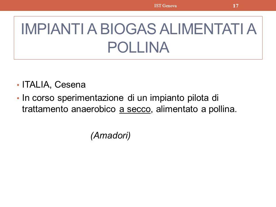 IMPIANTI A BIOGAS ALIMENTATI A POLLINA ITALIA, Cesena In corso sperimentazione di un impianto pilota di trattamento anaerobico a secco, alimentato a p