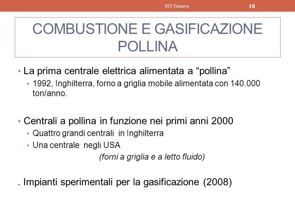 COMBUSTIONE E GASIFICAZIONE POLLINA La prima centrale elettrica alimentata a pollina 1992, Inghilterra, forno a griglia mobile alimentata con 140.000
