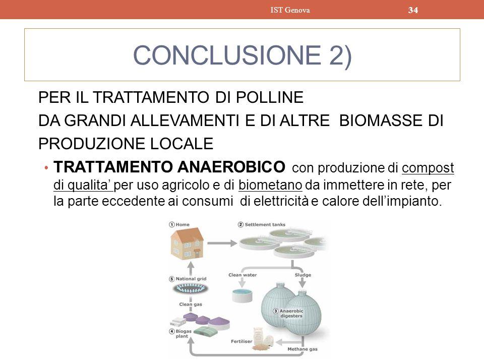 CONCLUSIONE 2) PER IL TRATTAMENTO DI POLLINE DA GRANDI ALLEVAMENTI E DI ALTRE BIOMASSE DI PRODUZIONE LOCALE TRATTAMENTO ANAEROBICO con produzione di c