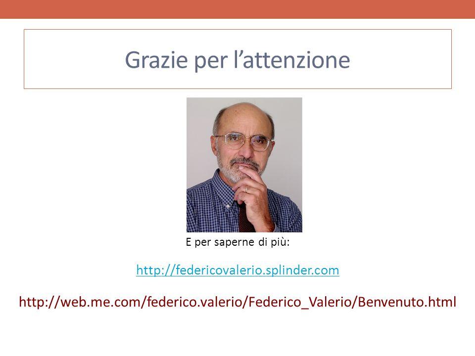 Grazie per lattenzione E per saperne di più: http://federicovalerio.splinder.com http://web.me.com/federico.valerio/Federico_Valerio/Benvenuto.html