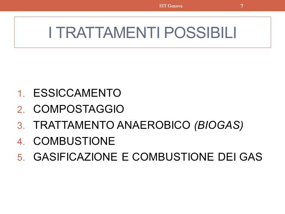 I TRATTAMENTI POSSIBILI 1. ESSICCAMENTO 2. COMPOSTAGGIO 3. TRATTAMENTO ANAEROBICO (BIOGAS) 4. COMBUSTIONE 5. GASIFICAZIONE E COMBUSTIONE DEI GAS IST G