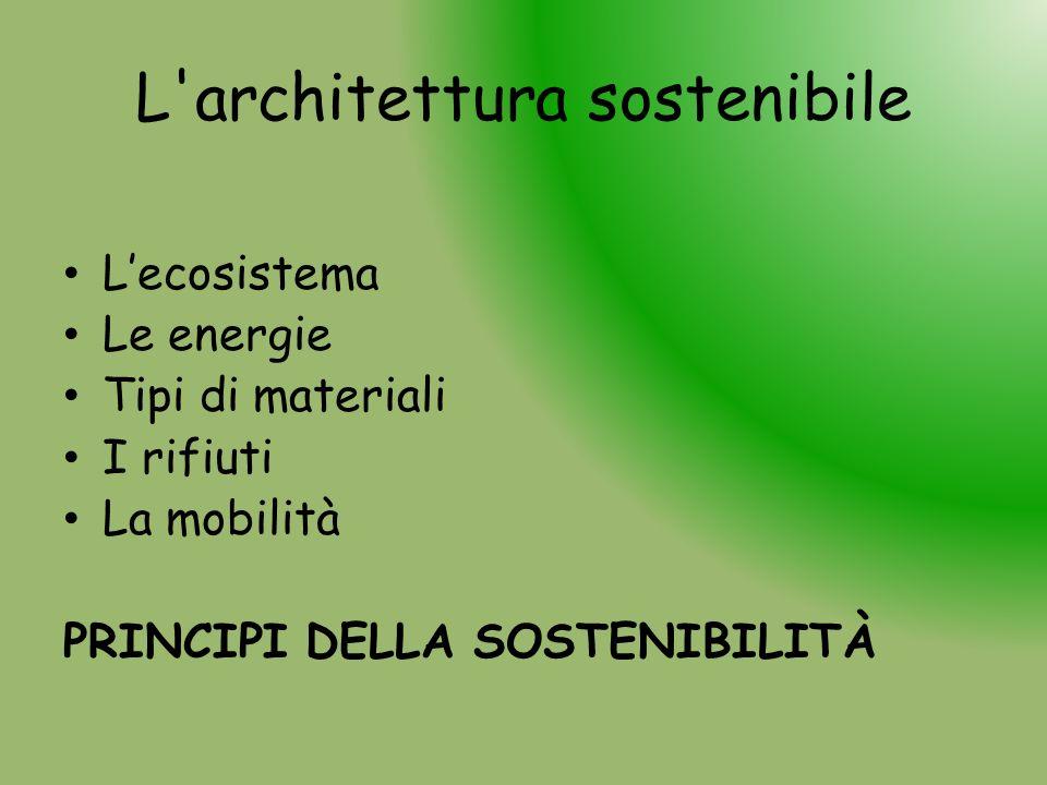 L'architettura sostenibile Lecosistema Le energie Tipi di materiali I rifiuti La mobilità PRINCIPI DELLA SOSTENIBILITÀ