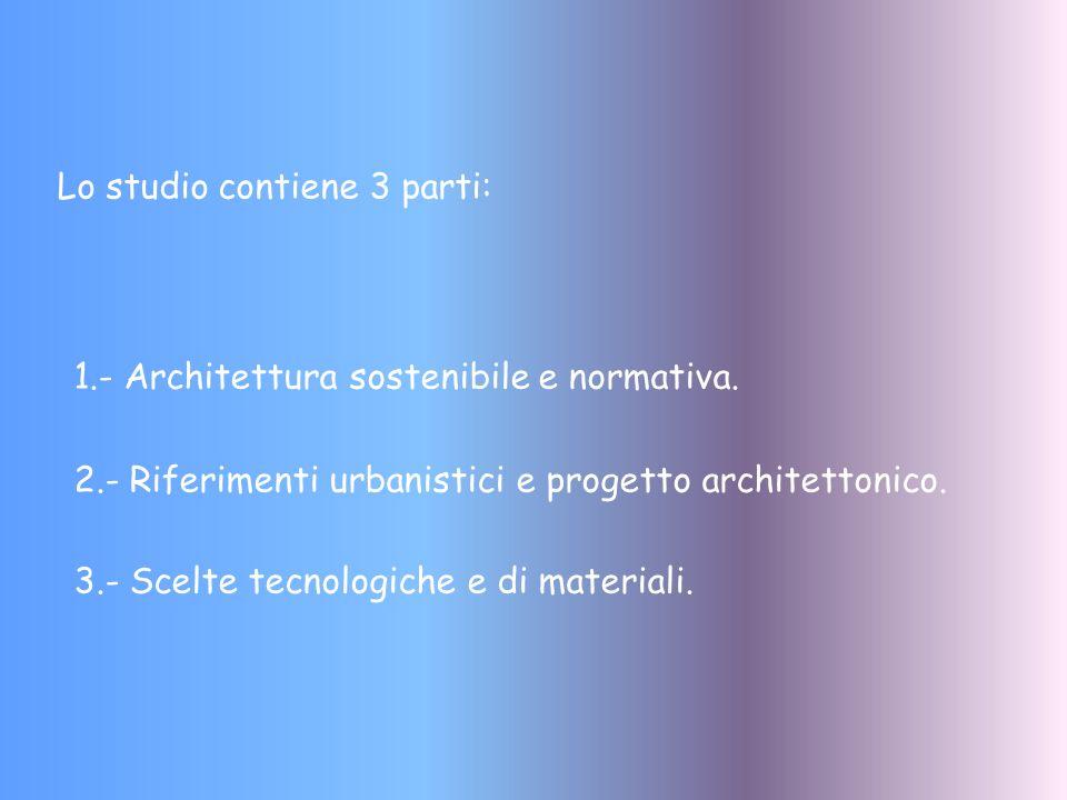 Lo studio contiene 3 parti: 1.- Architettura sostenibile e normativa. 2.- Riferimenti urbanistici e progetto architettonico. 3.- Scelte tecnologiche e