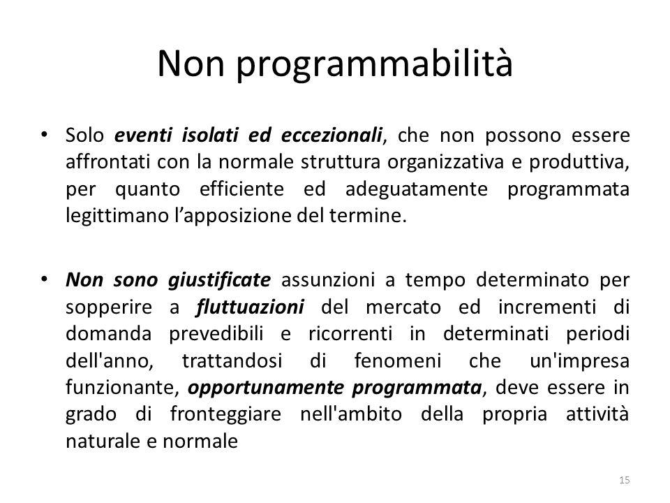 Non programmabilità Solo eventi isolati ed eccezionali, che non possono essere affrontati con la normale struttura organizzativa e produttiva, per quanto efficiente ed adeguatamente programmata legittimano lapposizione del termine.