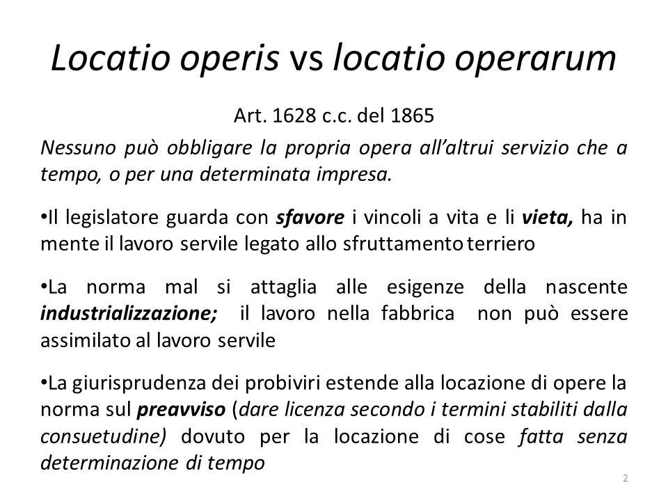 Locatio operis vs locatio operarum Art.1628 c.c.
