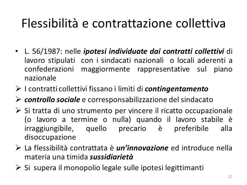 Flessibilità e contrattazione collettiva L.