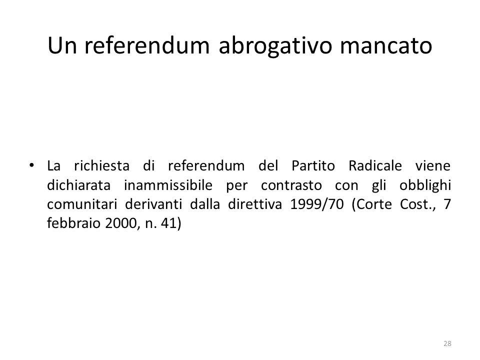 Un referendum abrogativo mancato La richiesta di referendum del Partito Radicale viene dichiarata inammissibile per contrasto con gli obblighi comunitari derivanti dalla direttiva 1999/70 (Corte Cost., 7 febbraio 2000, n.