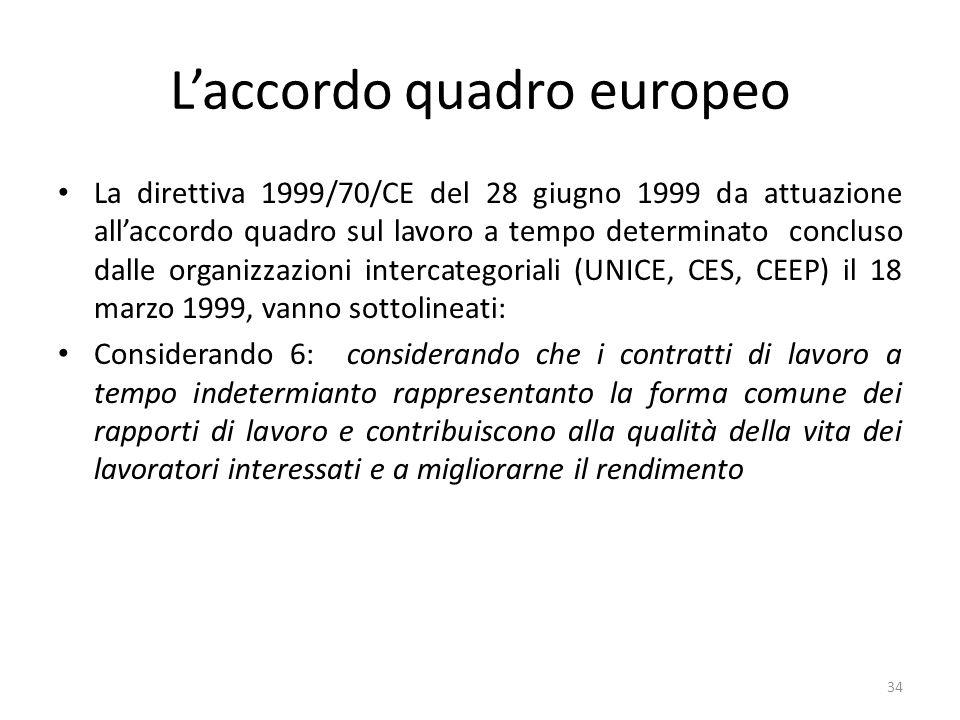 Laccordo quadro europeo La direttiva 1999/70/CE del 28 giugno 1999 da attuazione allaccordo quadro sul lavoro a tempo determinato concluso dalle organizzazioni intercategoriali (UNICE, CES, CEEP) il 18 marzo 1999, vanno sottolineati: Considerando 6: considerando che i contratti di lavoro a tempo indetermianto rappresentanto la forma comune dei rapporti di lavoro e contribuiscono alla qualità della vita dei lavoratori interessati e a migliorarne il rendimento 34