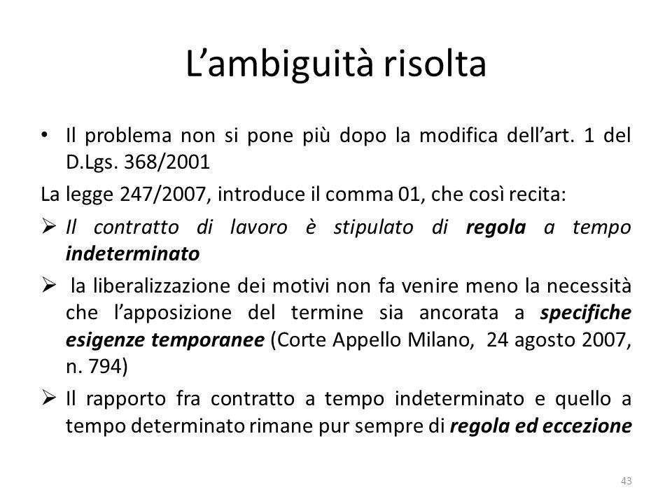 Lambiguità risolta Il problema non si pone più dopo la modifica dellart.