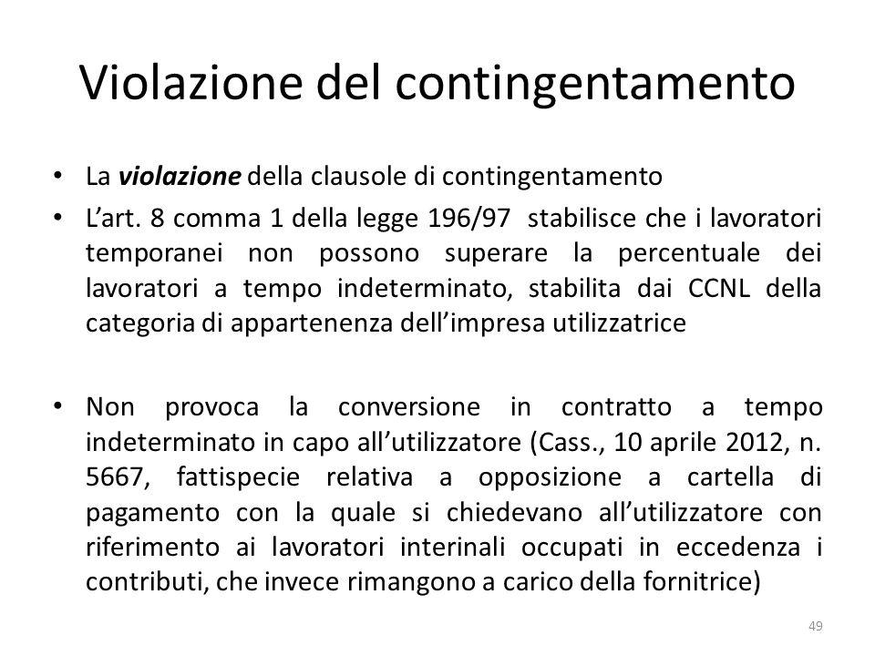 Violazione del contingentamento La violazione della clausole di contingentamento Lart.