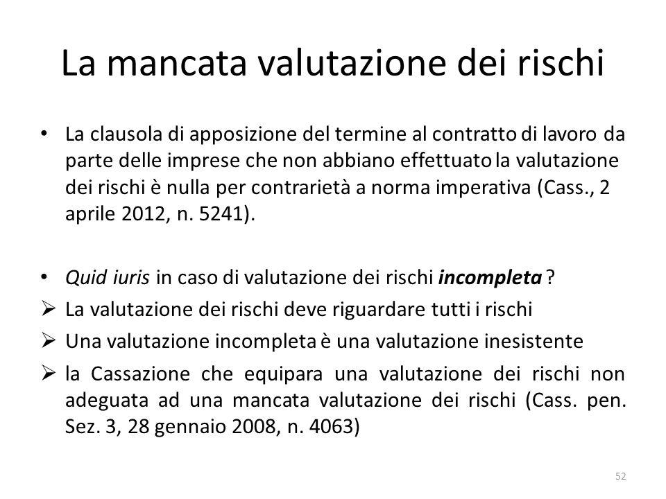 La mancata valutazione dei rischi La clausola di apposizione del termine al contratto di lavoro da parte delle imprese che non abbiano effettuato la valutazione dei rischi è nulla per contrarietà a norma imperativa (Cass., 2 aprile 2012, n.