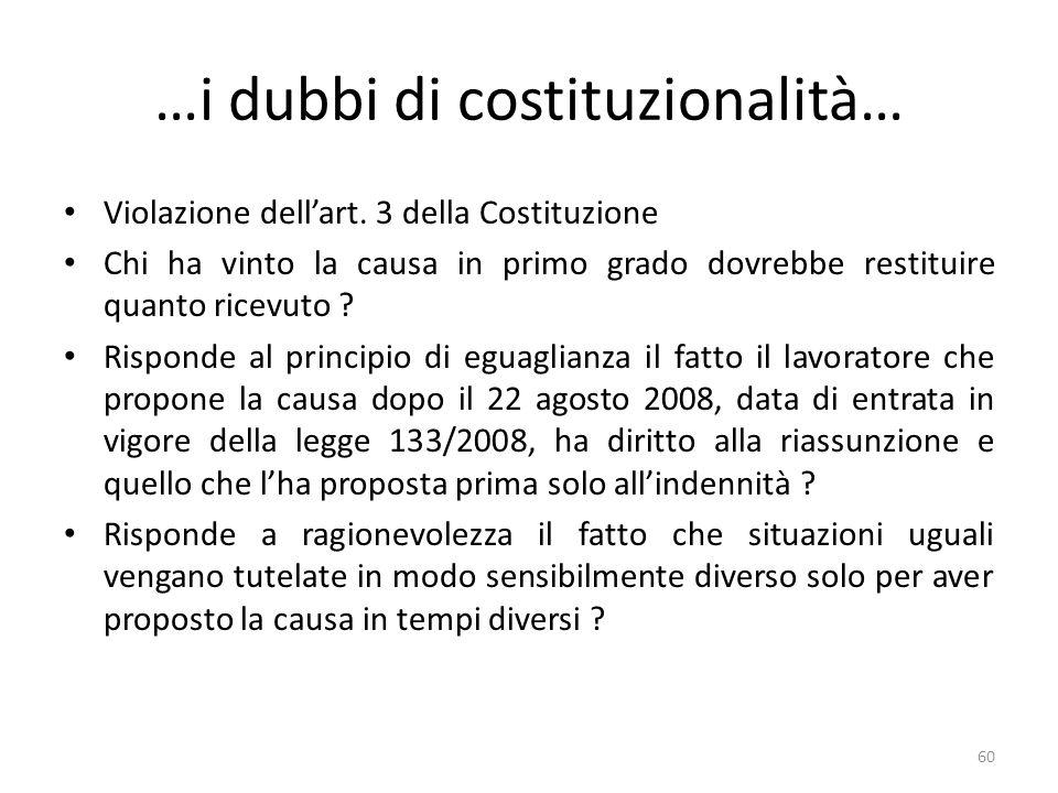 …i dubbi di costituzionalità… Violazione dellart.