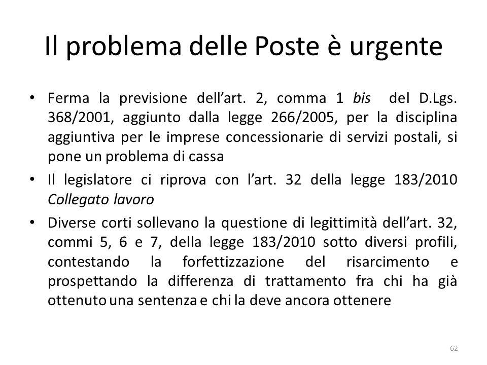 Il problema delle Poste è urgente Ferma la previsione dellart.