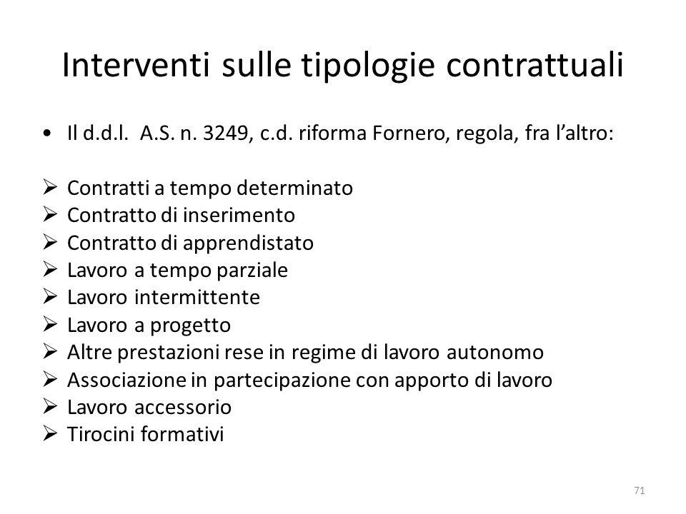 Interventi sulle tipologie contrattuali Il d.d.l.A.S.