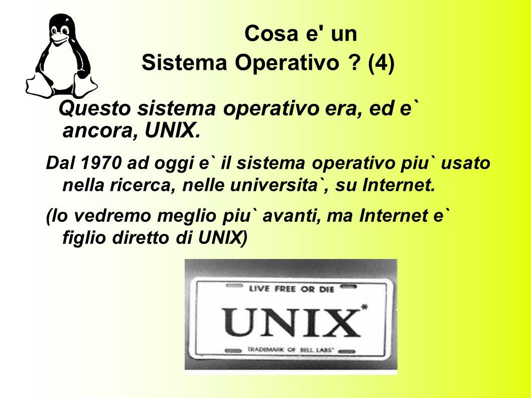 Cosa e un Sistema Operativo . (4) Questo sistema operativo era, ed e` ancora, UNIX.