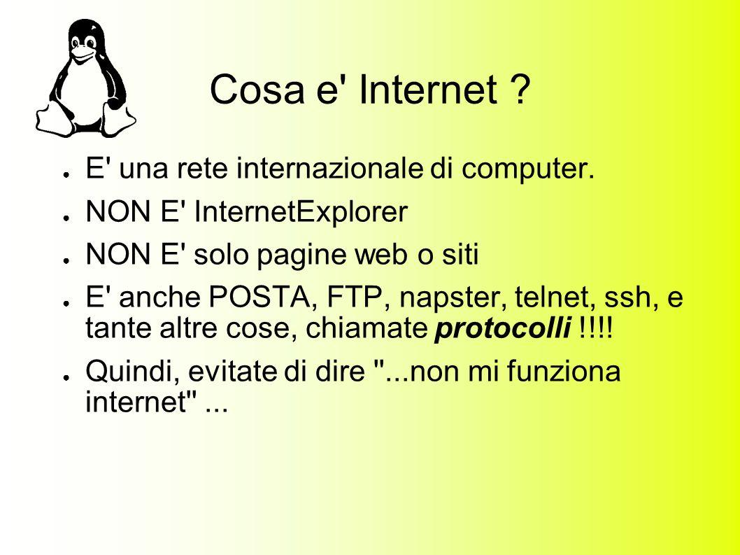 Cosa e Internet . E una rete internazionale di computer.