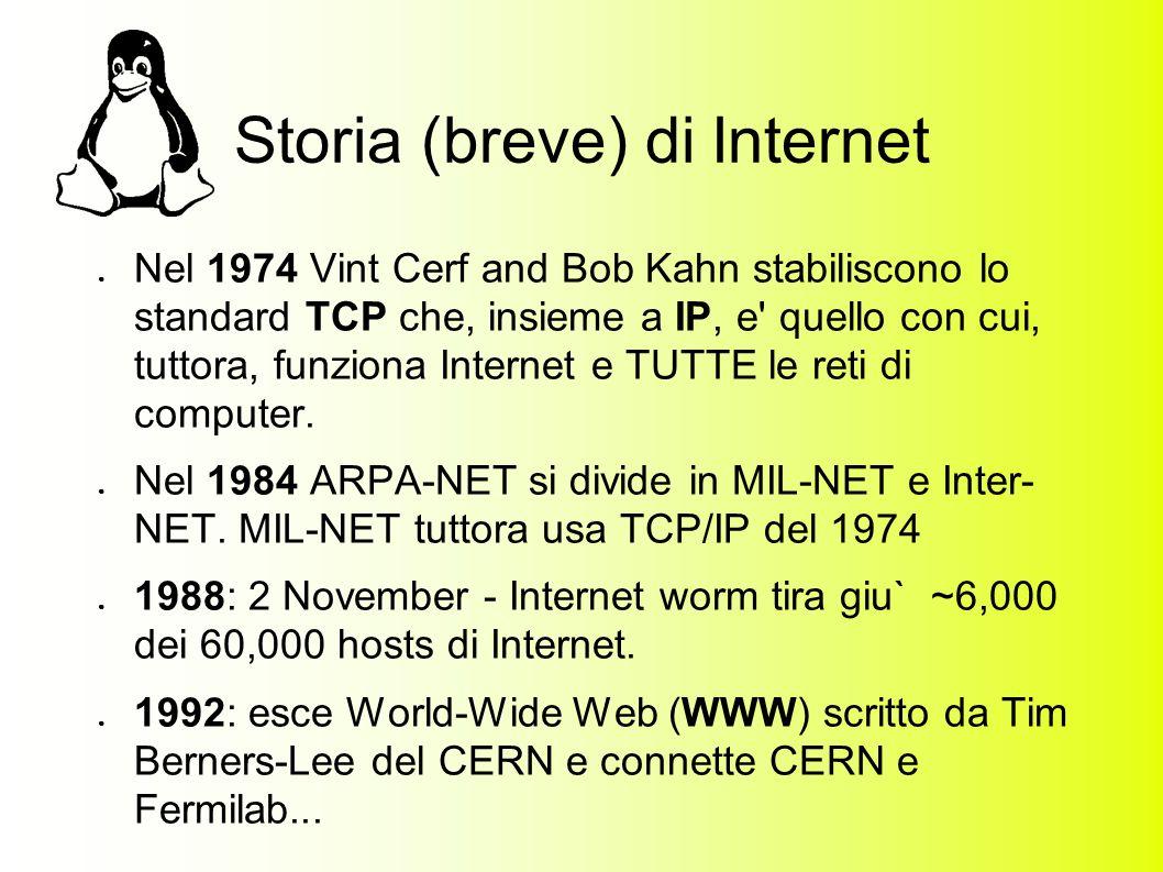 Storia (breve) di Internet Nel 1974 Vint Cerf and Bob Kahn stabiliscono lo standard TCP che, insieme a IP, e quello con cui, tuttora, funziona Internet e TUTTE le reti di computer.