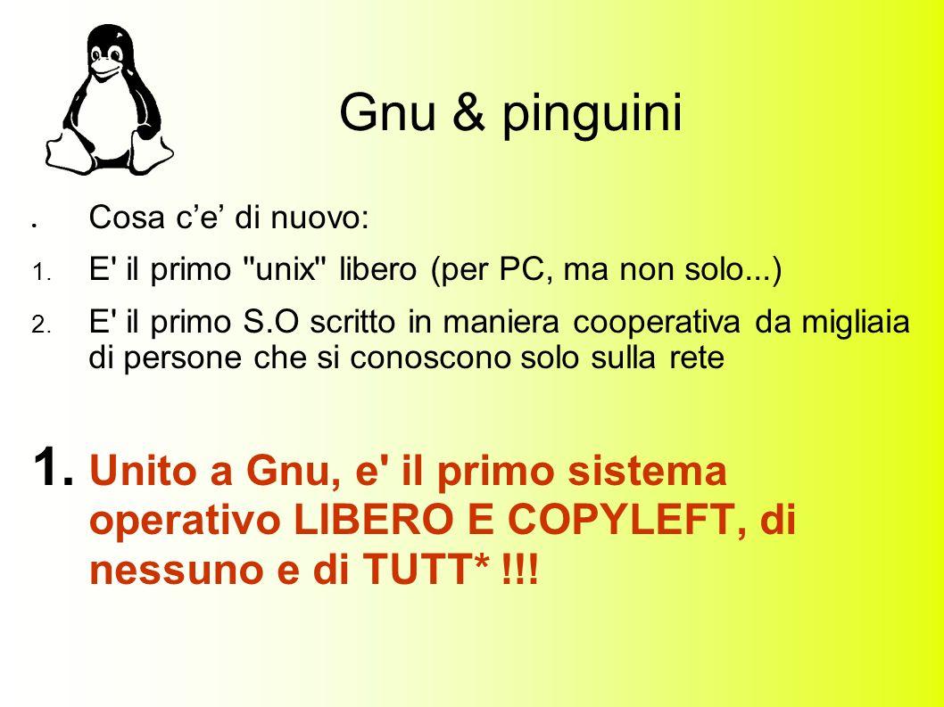 Gnu & pinguini Cosa ce di nuovo: 1. E il primo unix libero (per PC, ma non solo...) 2.
