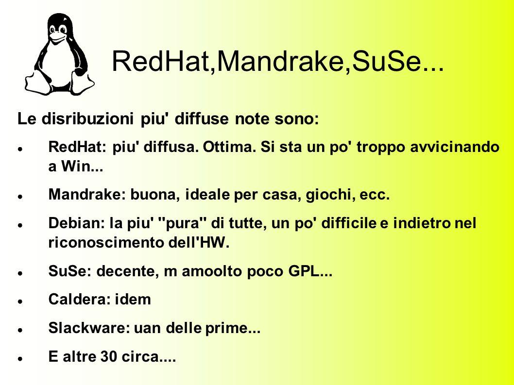 RedHat,Mandrake,SuSe... Le disribuzioni piu diffuse note sono: RedHat: piu diffusa.