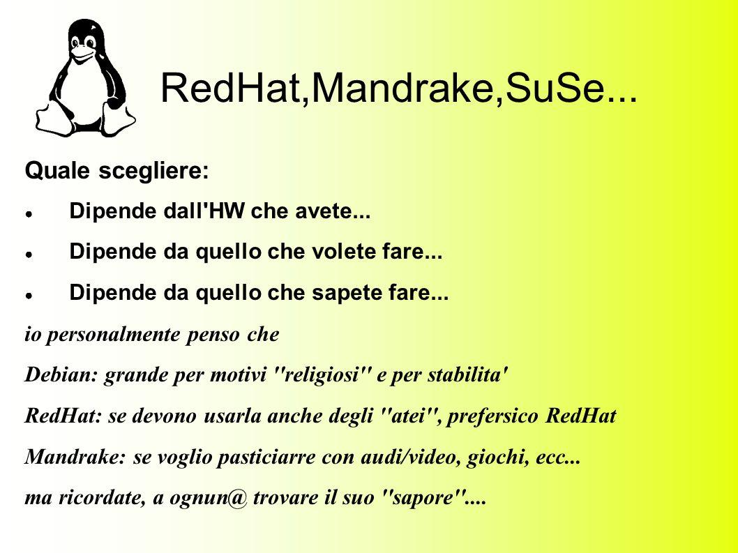 RedHat,Mandrake,SuSe... Quale scegliere: Dipende dall HW che avete...