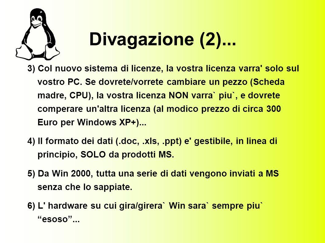 Divagazione (2)... 3) Col nuovo sistema di licenze, la vostra licenza varra solo sul vostro PC.