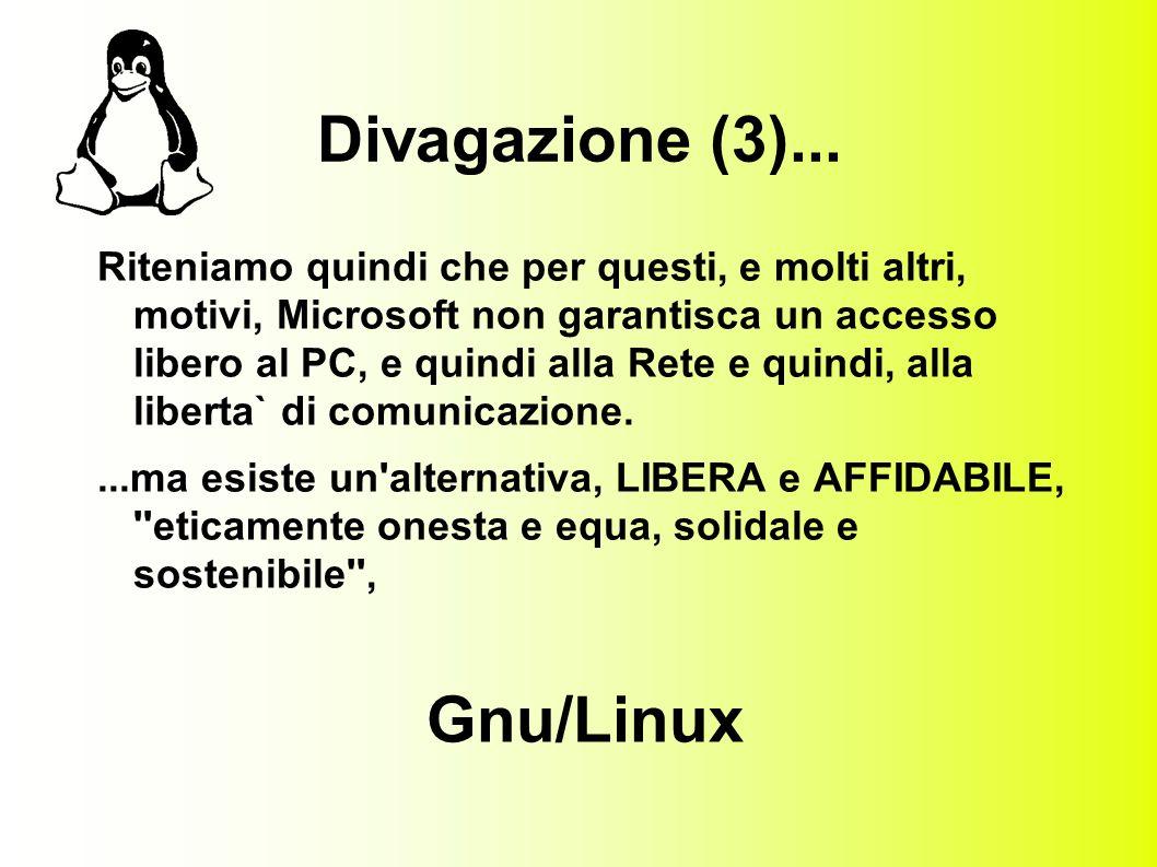 Gnu & pinguini Nel 1991, uno studente finlandese, Linus Torvalds, per la sua tesi di laurea scrive un mini-unix per PC , basandosi su software GNU (gcc, gdb, gminix), e nasce cosi LINUX.