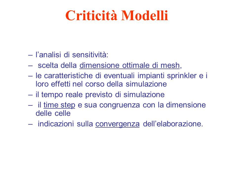 Criticità Modelli –lanalisi di sensitività: – scelta della dimensione ottimale di mesh, –le caratteristiche di eventuali impianti sprinkler e i loro e