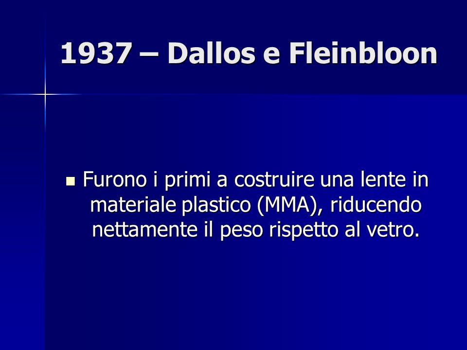 1937 – Dallos e Fleinbloon Furono i primi a costruire una lente in materiale plastico (MMA), riducendo nettamente il peso rispetto al vetro.