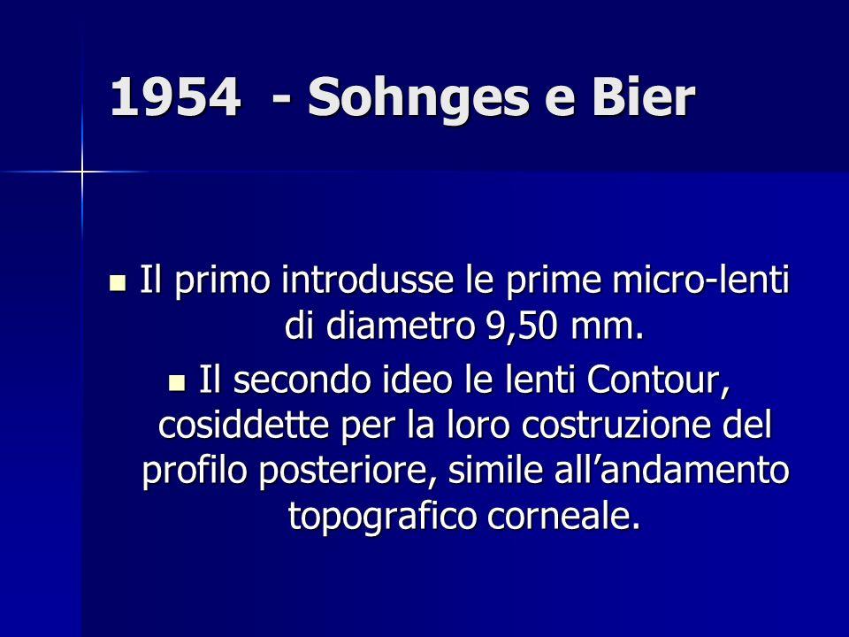1954 - Sohnges e Bier Il primo introdusse le prime micro-lenti di diametro 9,50 mm.