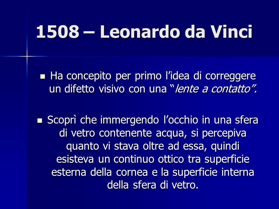 1508 – Leonardo da Vinci Ha concepito per primo lidea di correggere un difetto visivo con una lente a contatto.