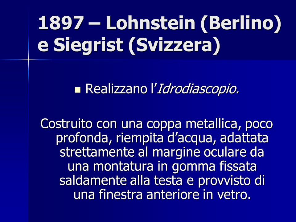 1897 – Lohnstein (Berlino) e Siegrist (Svizzera) Realizzano lIdrodiascopio.