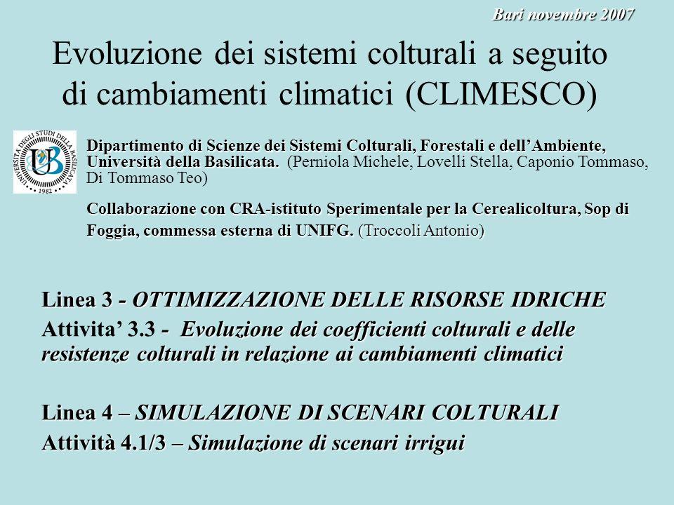 Evoluzione dei sistemi colturali a seguito di cambiamenti climatici (CLIMESCO) Linea 3 -OTTIMIZZAZIONE DELLE RISORSE IDRICHE Linea 3 - OTTIMIZZAZIONE