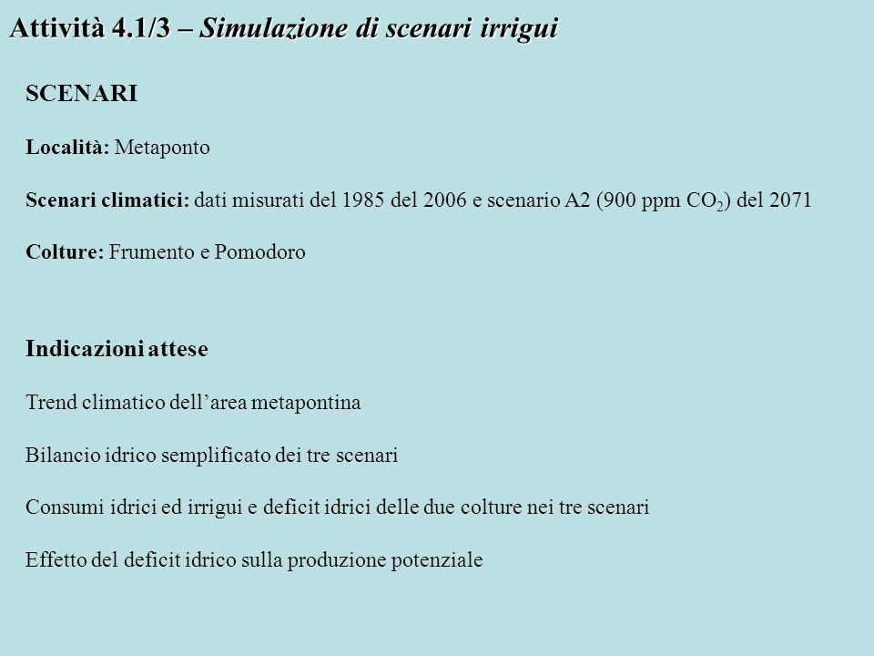 Attività 4.1/3 – Simulazione di scenari irrigui SCENARI Località: Metaponto Scenari climatici: dati misurati del 1985 del 2006 e scenario A2 (900 ppm