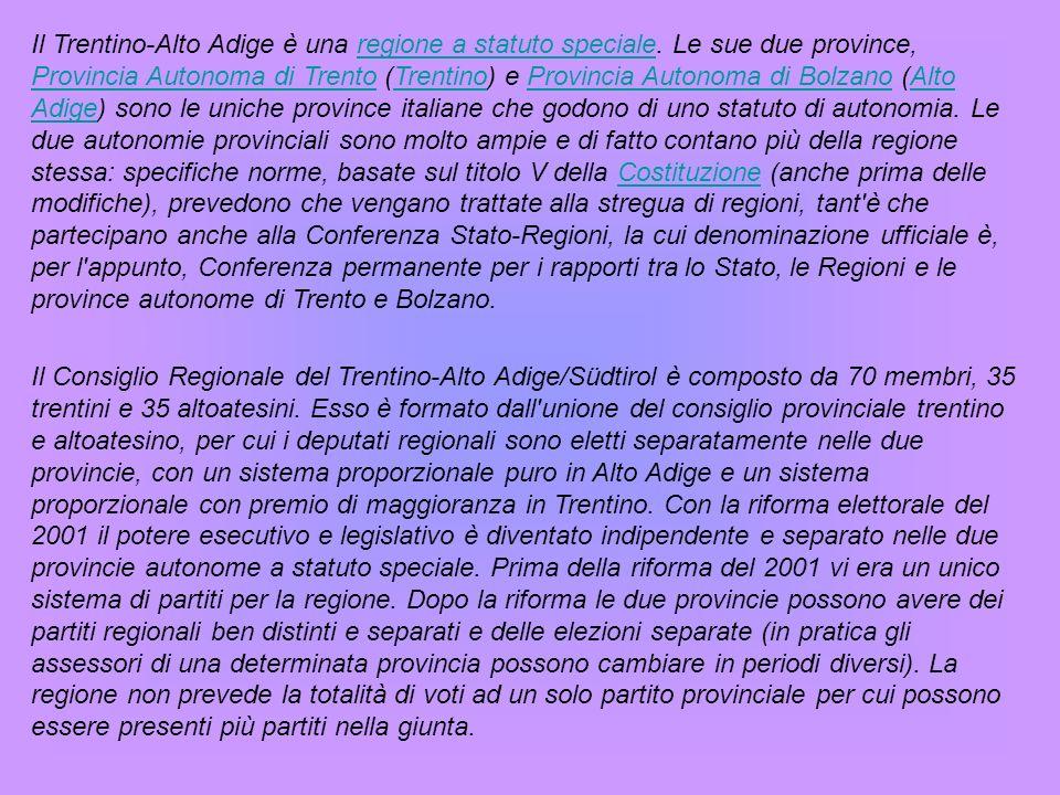 Il Trentino-Alto Adige è una regione a statuto speciale.