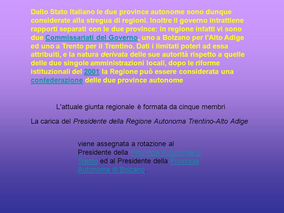 Dallo Stato Italiano le due province autonome sono dunque considerate alla stregua di regioni.