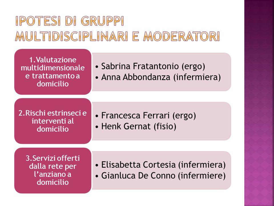 Sabrina Fratantonio (ergo) Anna Abbondanza (infermiera) 1.Valutazione multidimensionale e trattamento a domicilio Francesca Ferrari (ergo) Henk Gernat