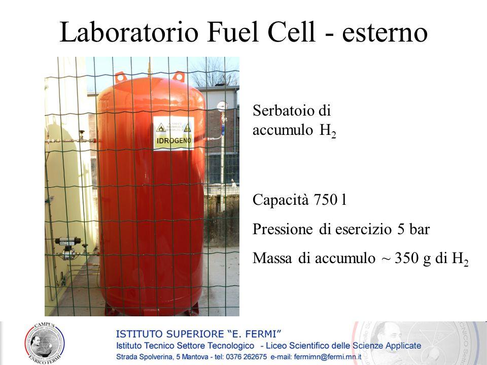 Serbatoio di accumulo H 2 Capacità 750 l Pressione di esercizio 5 bar Massa di accumulo ~ 350 g di H 2