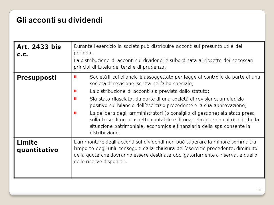 10 Gli acconti su dividendi Art. 2433 bis c.c. Durante lesercizio la società può distribuire acconti sul presunto utile del periodo. La distribuzione