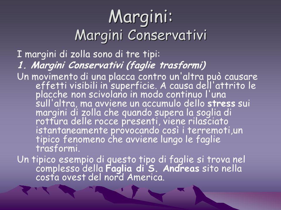 Margini: Margini Conservativi I margini di zolla sono di tre tipi: 1.
