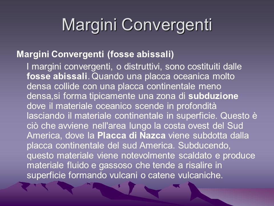 Margini Convergenti Margini Convergenti (fosse abissali) I margini convergenti, o distruttivi, sono costituiti dalle fosse abissali.