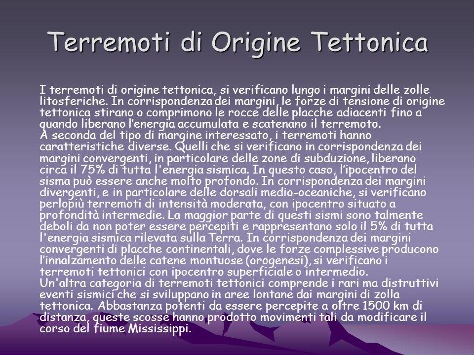 Terremoti di Origine Tettonica I terremoti di origine tettonica, si verificano lungo i margini delle zolle litosferiche.