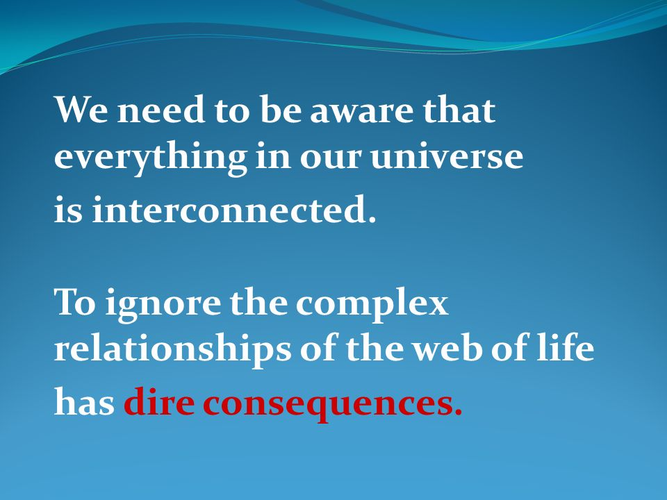 We need to be aware that everything in our universe is interconnected. To ignore the complex relationships of the web of life has dire consequences.